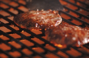 Pork burgers on the grill