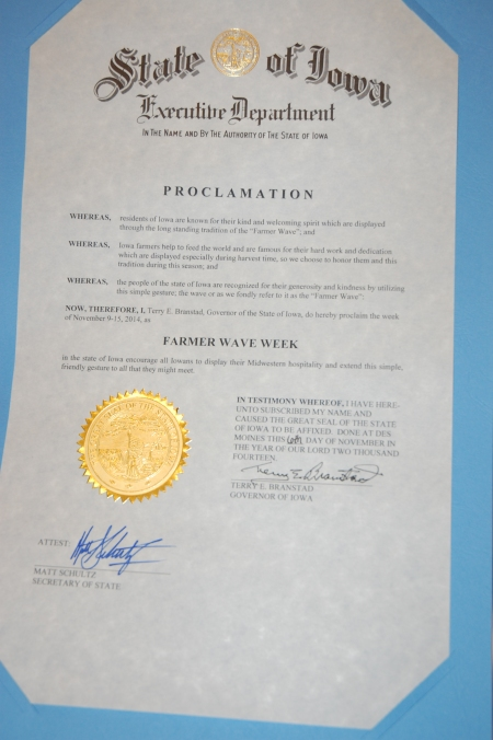 """The official """"Farmer Wave Week"""" proclamation"""
