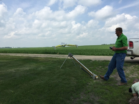 Jeff Frank, a farmer from Sac County, launches one of his drones on a crop scouting mission. I got to meet him while working with my boss, Laurie Johns, on an Iowa Minute shoot.